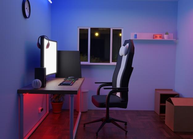 Renderização 3d - noite da sala de jogos