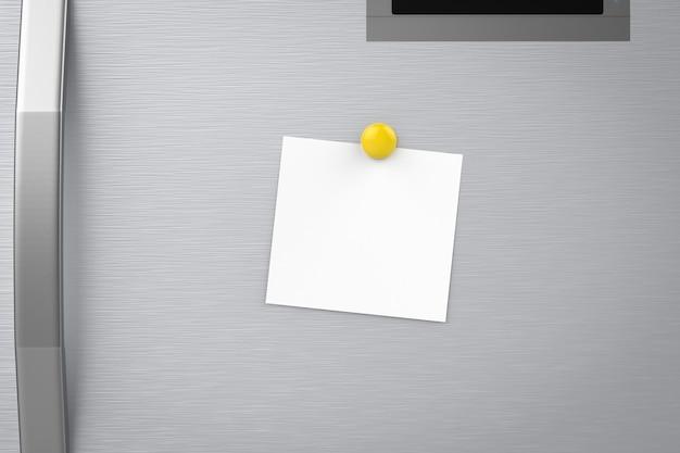 Renderização 3d nota vazia na geladeira