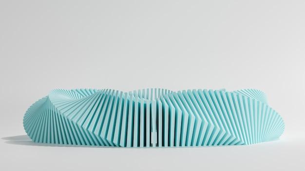 Renderização 3d, novo fundo de luxo, curva azul do cubo e torção de 360 graus no piso branco, ilustração 3d