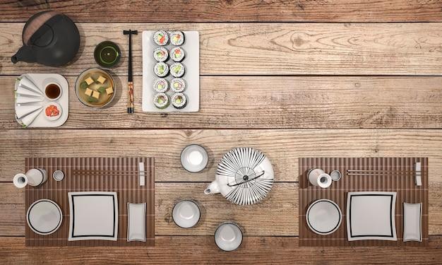 Renderização 3d olhar delicioso prato de sushi com sopa de tigela preta na mesa de jantar