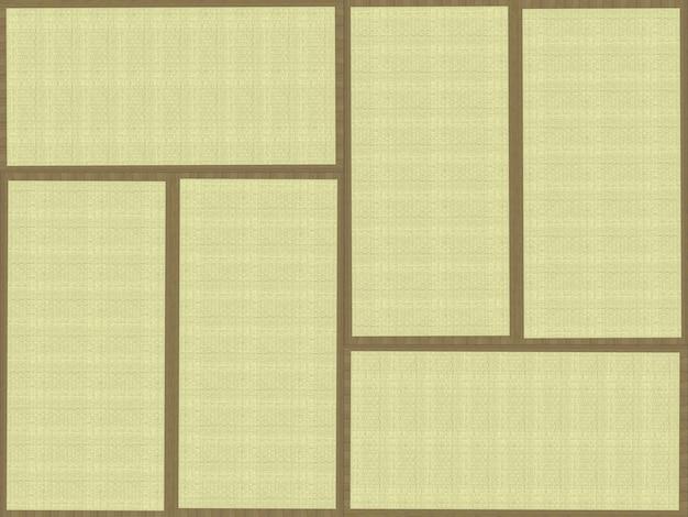 Renderização 3d. organizar tabular o fundo da parede da textura do piso de tatame tradicional japonês.