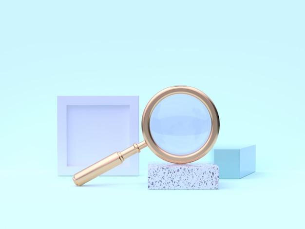 Renderização 3d ouro lupa abstrata cena geométrica azul esverdeado