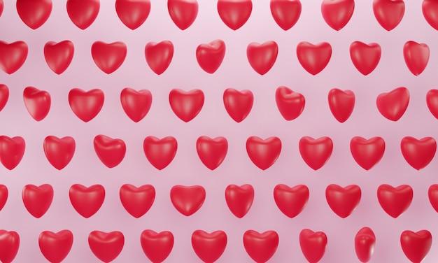 Renderização 3d. padrão sem emenda de corações vermelhos.