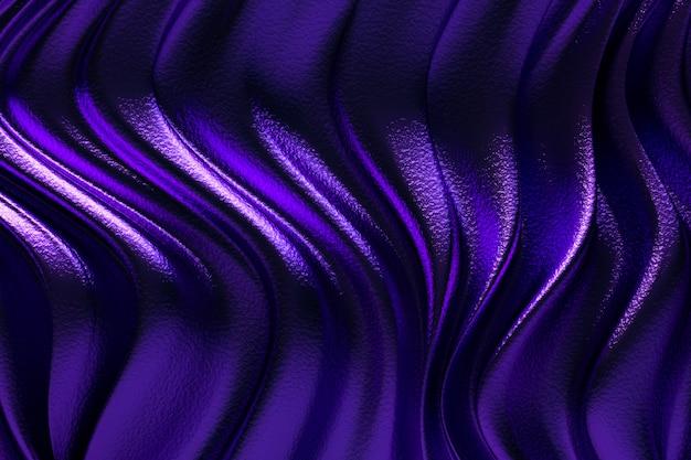 Renderização 3d, pano de fundo roxo abstrato ou onda líquida ou dobras onduladas de material de veludo de cetim de textura de seda grunge ou fundo de luxo ou design elegante papel de parede, fundo roxo
