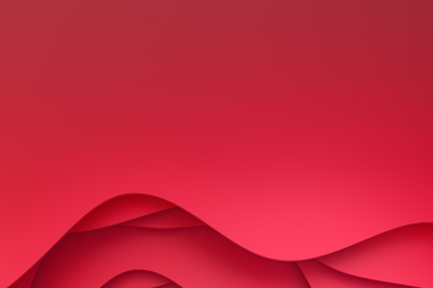 Renderização 3d, papel vermelho abstrato cortar arte base design para modelo de site ou modelo de apresentação, fundo vermelho, plano de fundo para dia dos namorados