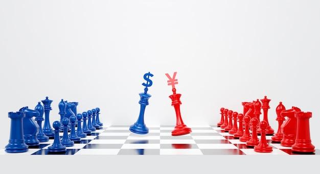 Renderização 3d para a guerra comercial dos eua e da china com dólar e yuan no xadrez