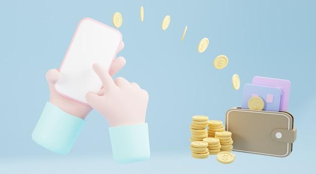 Renderização 3d, para economizar dinheiro, riqueza e financeira e começar a economizar e enviar um conceito, copie o espaço. transferência de dinheiro para o banco do celular. carteira, moedas, cartão de crédito
