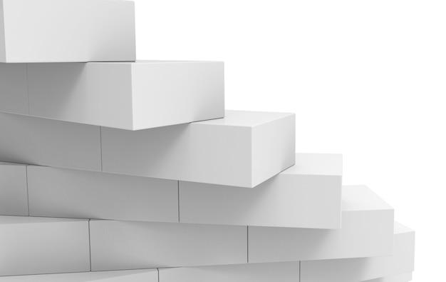 Renderização 3d. parede de pilha de tijolos de cubo cinza com fundo de espaço em branco.