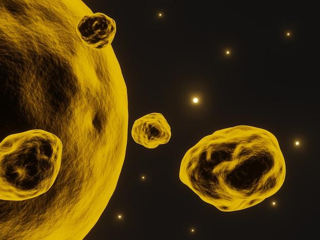 Renderização 3d pedra asteróide amarela vista do espaço