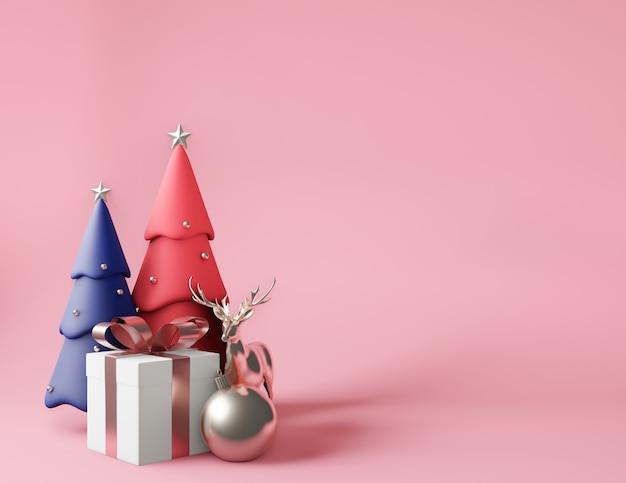 Renderização 3d pequena caixa de presente e árvores de natal rosa e azuis metálicas