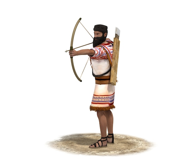 Renderização 3d, personagem guerreiro