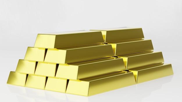 Renderização 3d pilha de barras de ouro, peso 1000 gramas