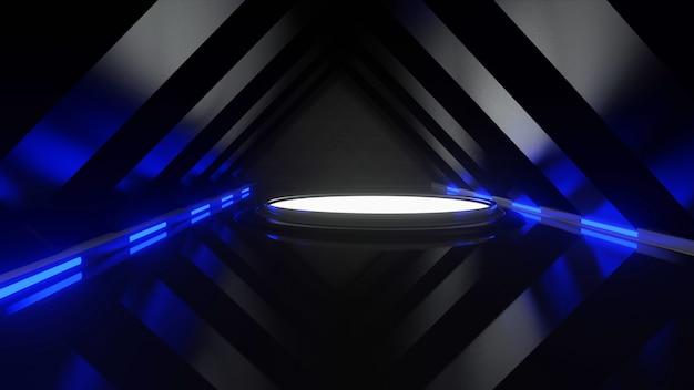 Renderização 3d plataforma abstrata para a luz cintilante azul preta da feira comercial