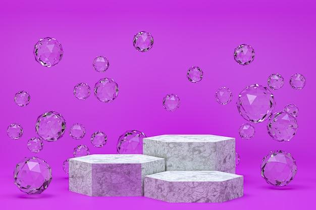 Renderização 3d, pódio branco mínimo abstrato roxo para apresentação de produtos cosméticos, forma geométrica abstrata