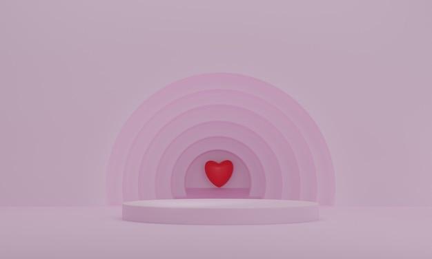 Renderização 3d, pódio de apresentação com coração vermelho em fundo de círculos rosa