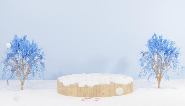 Renderização 3d pódio de madeira coberto de neve com tema de inverno 2 árvores para produtos de demonstração