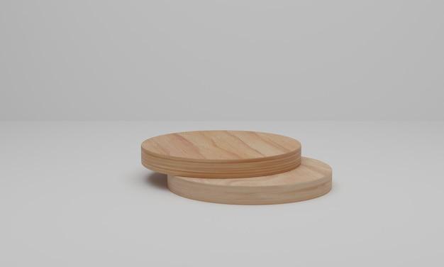 Renderização 3d. pódio de madeira em fundo branco. cena mínima abstrata com geométrica.
