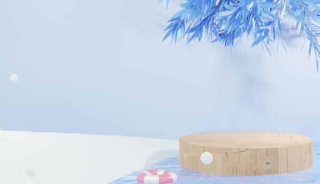 Renderização 3d pódio de madeira na água rodeado por tema neve inverno