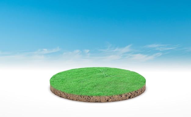 Renderização 3d, pódio do círculo do prado da terra. seção transversal do solo do solo com grama verde sobre fundo de céu azul.