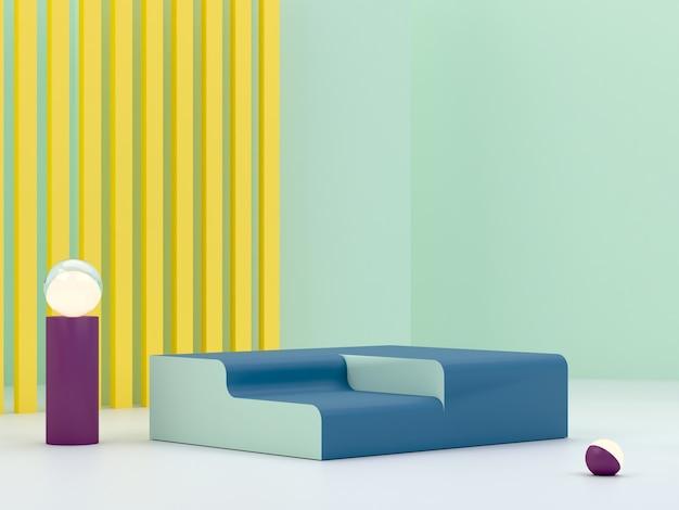 Renderização 3d. pódio mínimo para mostrar um produto. cena vazia com arcos e formas geométricas. cena fullcolor.