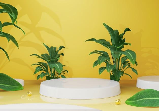 Renderização 3d pódio vazio ou display de pedestal com decoração de planta de folha verde posição de produto em branco