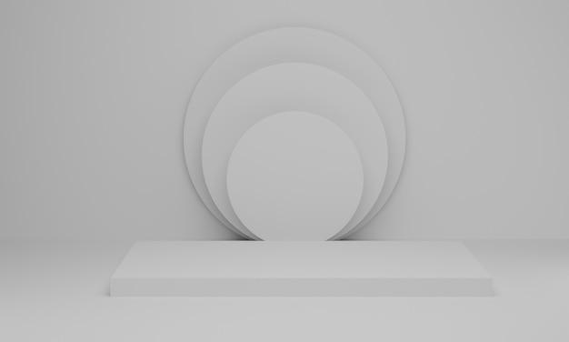 Renderização 3d. pódio vazio ou display de pedestal em fundo branco. pano de fundo em pé da prateleira do produto em branco. cena mínima abstrata com geométrica.