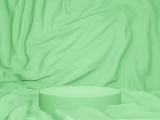Renderização 3d. pódio verde com fundo ondulado