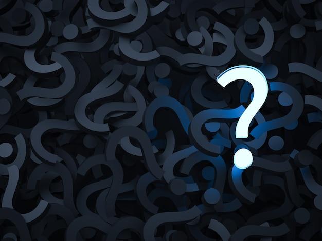Renderização 3d ponto de interrogação brilhante com fundo preto de pontos de interrogação