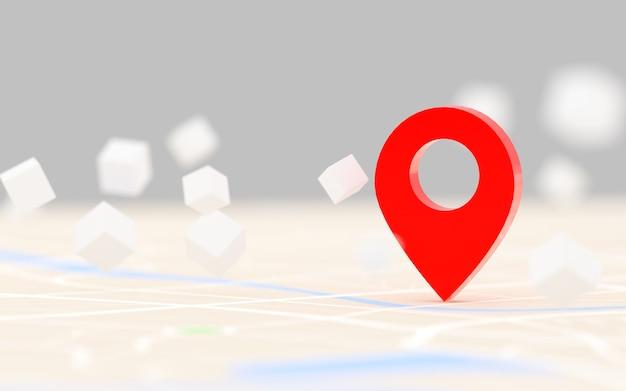 Renderização 3d ponto gps vermelho de destino no mapa, para navegador e rota para o conceito de viagem, selecione o foco profundidade de campo rasa