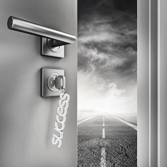 Renderização 3d porta aberta com chaveiros de sucesso em uma estrada