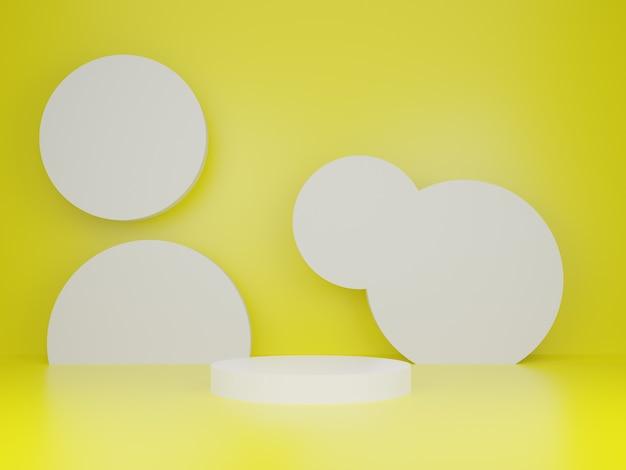 Renderização 3d, prateleira de círculo branco em fundo amarelo