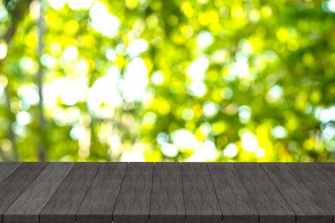 Renderização 3d, prateleiras de madeira pretas ou mesa de madeira preta com fundo de natureza vista,