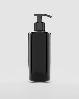 Renderização 3d preto garrafa de plástico com shampoo bombas isolado no branco