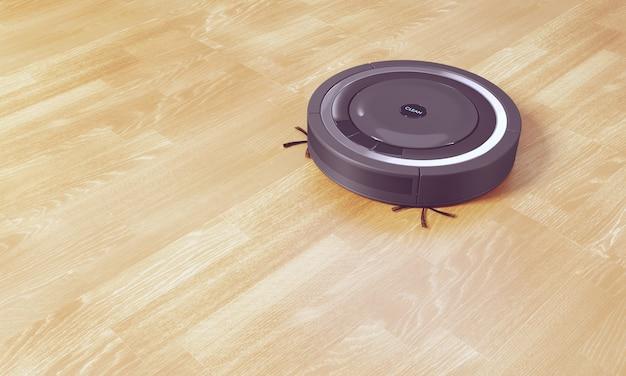 Renderização 3d preto robô aspirador de piso feito de laminado
