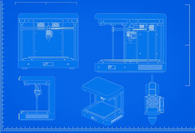 Renderização 3d projeto de impressora 3d com escala em fundo azul
