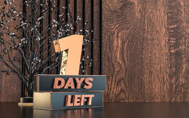 Renderização 3d promocional de dias restantes design do símbolo do sinal com fundo de textura de madeira