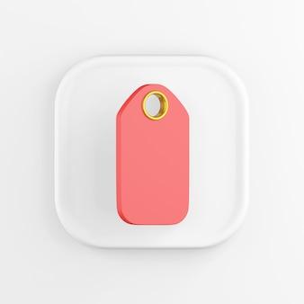 Renderização 3d quadrada ícone branco botão chave pendurar marca isolada no fundo branco.
