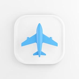 Renderização 3d quadrado branco ícone botão chave avião azul isolado no fundo branco.