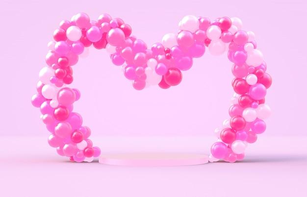 Renderização 3d. quadro de forma doce coração de dia dos namorados com pano de fundo rosa ballloons de doces
