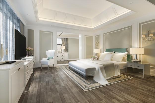 Renderização 3d quarto de luxo clássico com mesa de maquiagem perto da janela