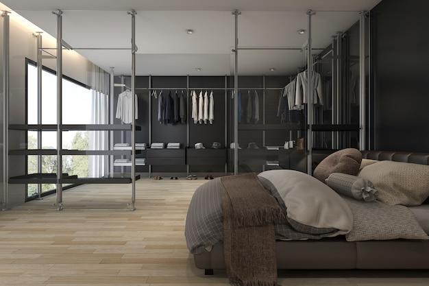 Renderização 3d quarto moderno com closet e guarda-roupa