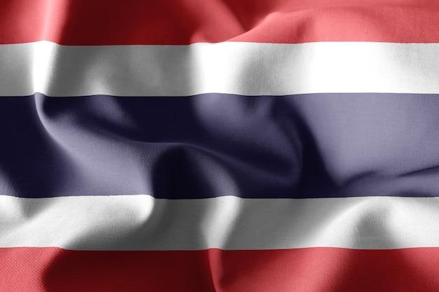 Renderização 3d realista acenando a bandeira de seda da tailândia
