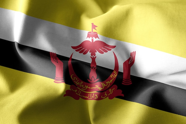 Renderização 3d realista acenando a bandeira de seda de brunei
