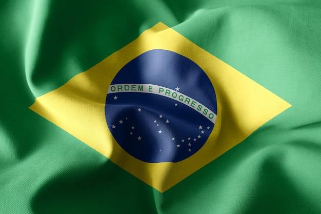 Renderização 3d realista acenando a bandeira de seda do brasil