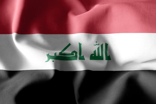 Renderização 3d realista acenando a bandeira de seda do iraque