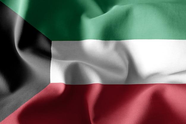 Renderização 3d realista acenando a bandeira de seda do kuwait