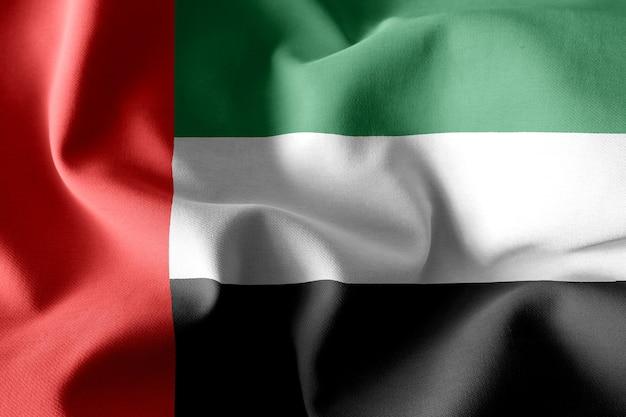 Renderização 3d realista acenando a bandeira de seda dos emirados árabes unidos