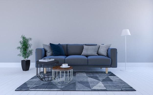 Renderização 3d realista de interior da moderna sala de estar com sofá, sofá e mesa