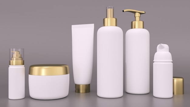 Renderização 3d realista em branco recipientes cosméticos para cremes e garrafas tônicas. garrafa e tubo, creme tônico para pele de cuidado