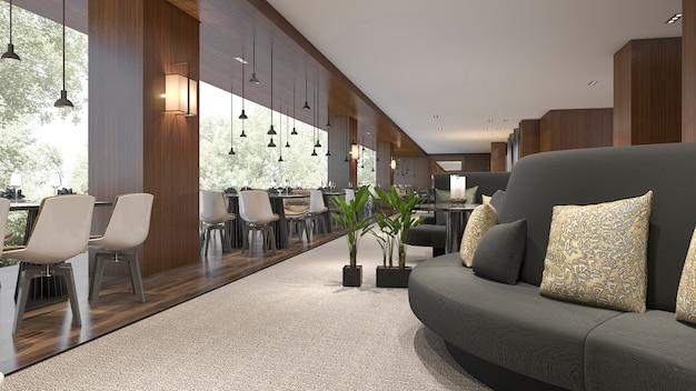 Renderização 3d, recepção de hotel de luxo e restaurante lounge